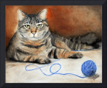 Dare ya! Tabby Cat Feline with String by Violano