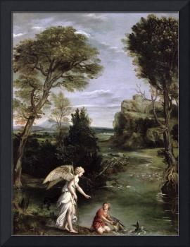 Landscape with Tobias laying hold of the Fish, c.1