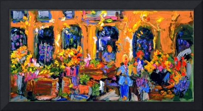Market in Provence France Original Painting by Gin