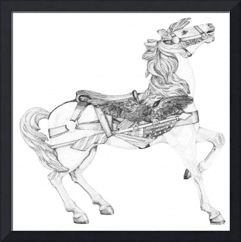 Stipple Pen and Ink Carousel Horse