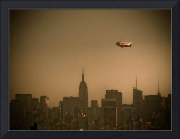 Goodyear Blimp over Empire State Building
