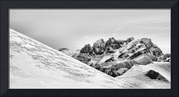 Winter snowy Mountains in black and white