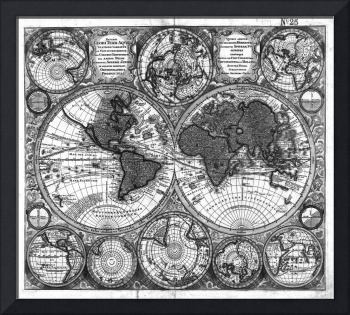 Black and White World Map (1730)