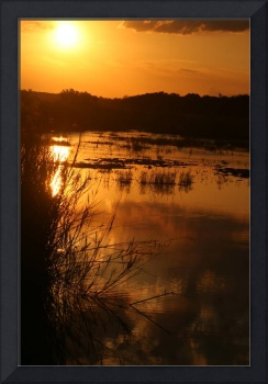 African Sunset over the Sand River