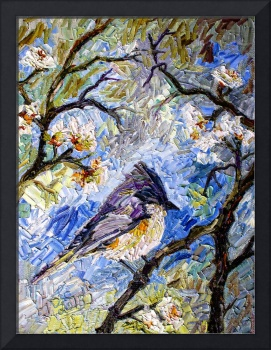 Impressionism Bird in Spring blossom Tree