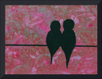 Birds on a Wire in Pink