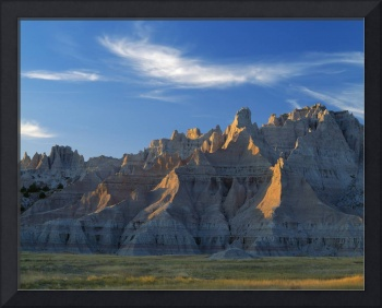 Badlands landscape with pinnacles