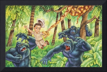 Jungle, boy, trees, gorilla, snake