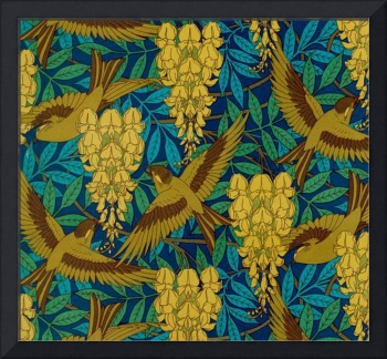 Vintage Art Deco Birds and Leaves