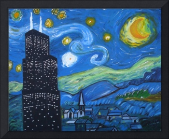 Starry Sears Tower Night