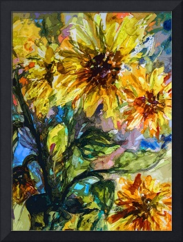 Abstract Sunflowers Modern Decorative Art