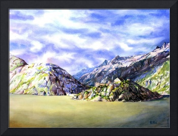 Watercolor painting of lake and Swiss Alps