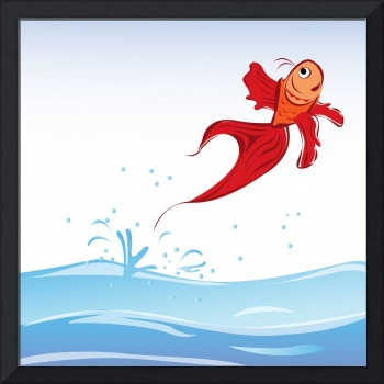 Beautiful red fish jumping out of water