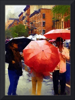 Red Umbrellas in the Rain