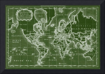 World Map (1766) Green & White