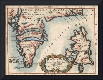Vintage Map of Greenland and Iceland (1694)