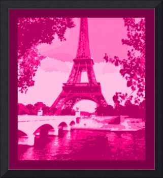 Eiffel Tower Seine River Enhanced Pink Cropped bor