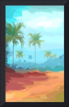 Digital painting of coconut trees