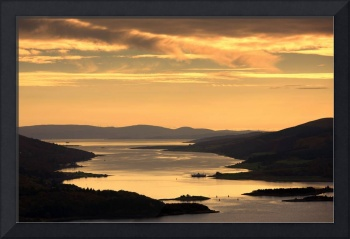 Sunset Over Water, Argyll And Bute, Scotland, UK
