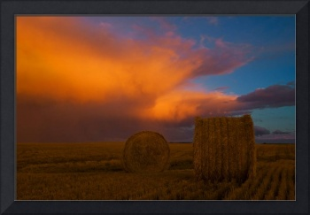 Heavy Clouds And Hay Bales After A Storm, Near Cyp