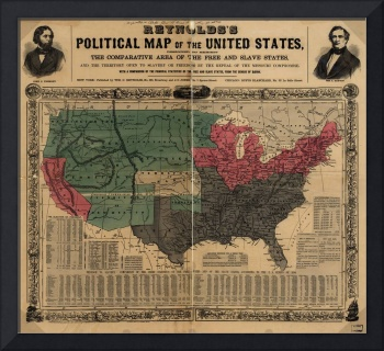 Vintage Political Map of The United States (1856)