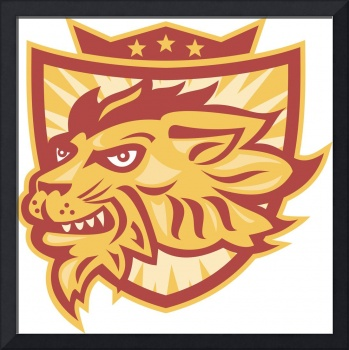 Lion Mascot Head Shield