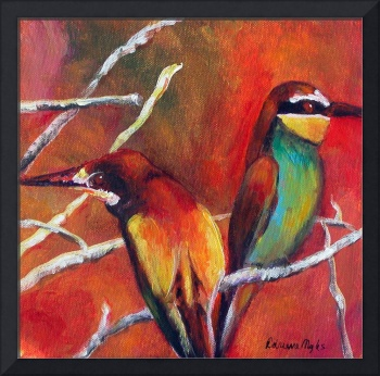 Bee Eaters against Sunset