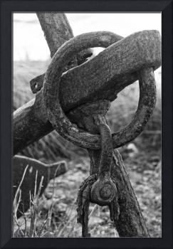 Old rusted anchor in black and white