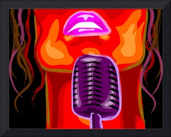 Digital painting of a lady behind a karaoke