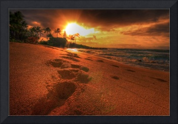 Footsteps at South Waipouli Beach