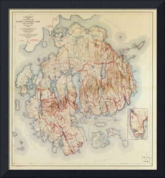 Map of Acadia National Park, Maine (1942)