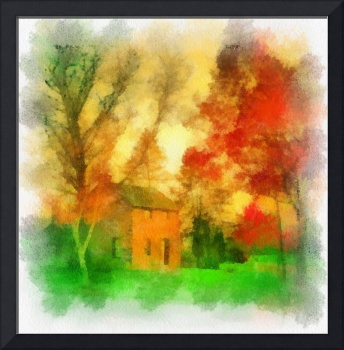 Stone Cottage Watercolor
