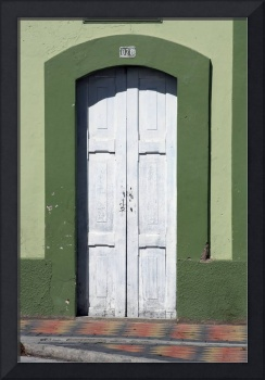 White Door in a Green Frame