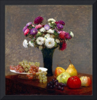 Henri Fantin-Latour Asters and Fruit on a Table