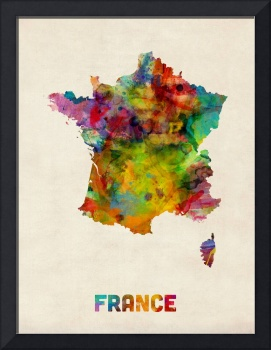France Watercolor Map