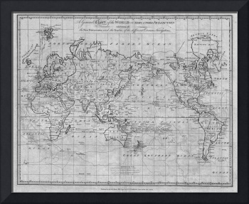 Black and White World Map (1799)