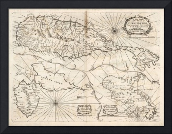 Old St Kitts, Guadeloupe & Martinique Map (1794) V