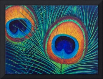 Peacock feathers painting