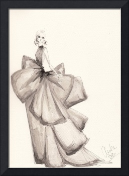 Fashion Art Big Bows Illustration