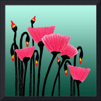 Expressive Red Pink Green Poppy Painting 3309s