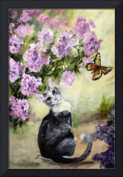 Cat in Garden with Monarch Butterflies