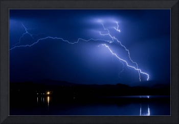 Stormy Blue Sky Lightning Over Water