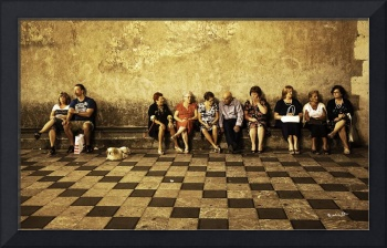 Tourists on Bench - Sicily