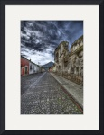 Cobbled Street and Volcano by Dave Wilson