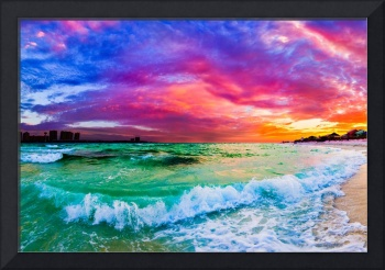 purple blue sunset ocean wave beautiful sea