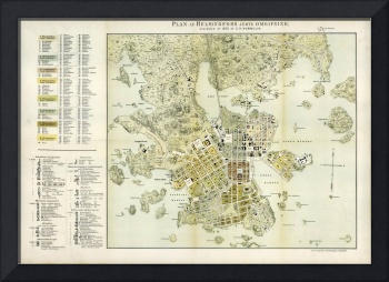 Vintage Map of Helsinki Finland (1876)
