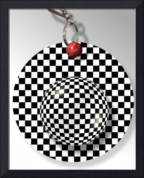 Checkered Ball Keychain