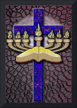 Burgundy Menorah Cross and Word
