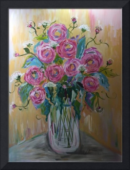 Tall Vase Of Cabbage Roses