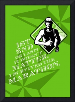 Male Marathon Runner Retro Poster